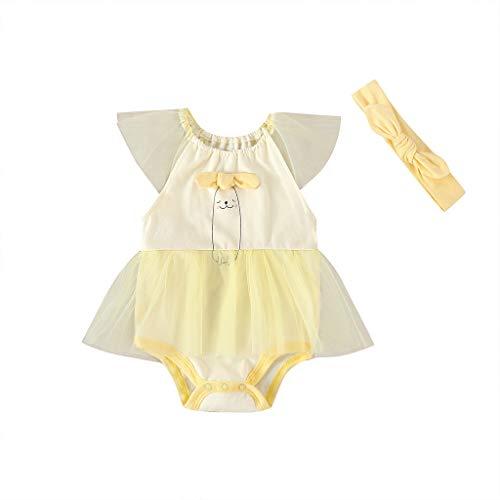 LEXUPE Neugeborene Baby Mädchen Cartoon Patchwork Gaze Strampler Kleid Bodysuit Outfits(Gelb,18M)
