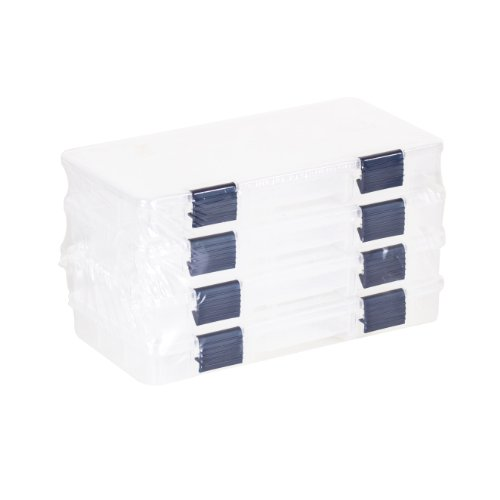 Plano Tackle Boxes,4 pack of 3500 Prolatch Stowaway Tackle Utility Boxes, Fishing Tackle Storage, blue