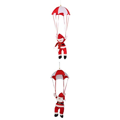 joyMerit Christmas Tree Hanging Xmas Snowman Santa in Parachute Ornament Red