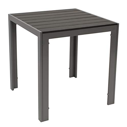 Bistrotisch Sorano 70x70cm rechteckig, Gestell Aluminium Silbergrau, Tischplatte Polywood in Holzoptik dunkelgrau, wetterfester Gartentisch