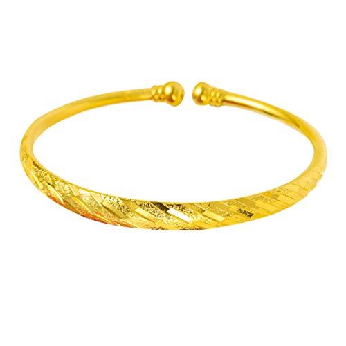 Holibanna Gold Armreifen Offene Manschette Armband Chinesische Traditionelle Armbänder Schmuck Geschenk für Braut Frauen Mädchen Baby Neugeborene (6N Babysbreath Stil) (Meteorregen)