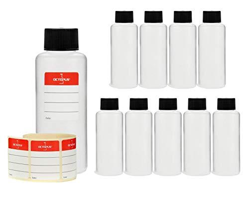 10x 100 ml flacons en plastique, flacons ronds en plastique PEHD, vides, diamètre du goulot 25 mm, dis pièces avec bouchons