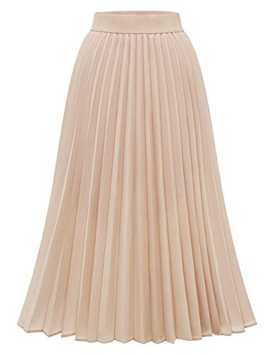 Pleated Skirts for Women, Pleated Midi Skirt, Long Pleated Skirts for Women, Skirts for Women, Skirts for Women Midi Length Champagne XS