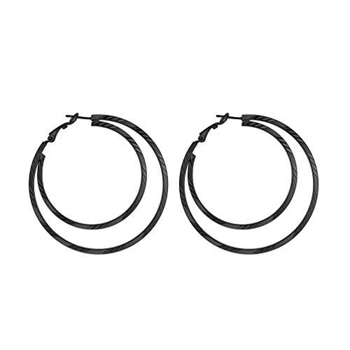 PROSTEEL Damen Ohrringe schwarz Edelstahl Doppel Kreis Creolen 60mm Große Kreolen Ohrringe Hoop Earrings Doppel Kreis Ohr Piercing Schmuck Geschenk für Geburtstag Jahrestag