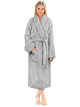PAVILIA Premium Womens Plush Soft Robe Fluffy Warm Fleece Sherpa Shaggy Bathrobe S/M Light Gray
