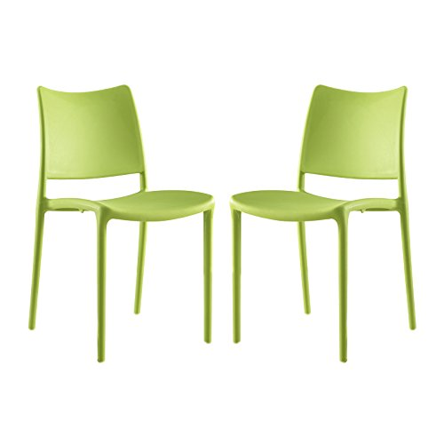 Modway Hipster Contemporary Modern Molded Plastic Stacking Two Dining Chairs in Green