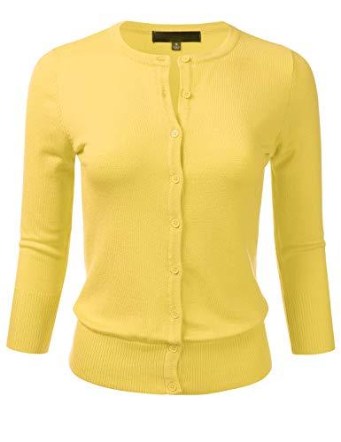 Women's Button Down 3/4 Sleeve Crew Neck Knit Cardigan Sweater BABYYELLOW 3X
