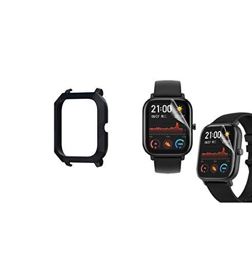 MOSHOU Sport Schutzhülle und Schutzfolie Kompatibel für Huami Amazfit GTS Smartwatch, Slim Schützen Bunte Rahmen PC Case Cover Fall Abdeckung Hülle Shell MEHRWEG (Schutzfolie und Schutzhülle)