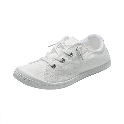 Ghemdilmn Zapatillas clásicas de lona para mujer, cómodas, de corte bajo, para senderismo, para verano, para el tiempo libre, planas, para correr, para exteriores, color Blanco, talla 37 EU