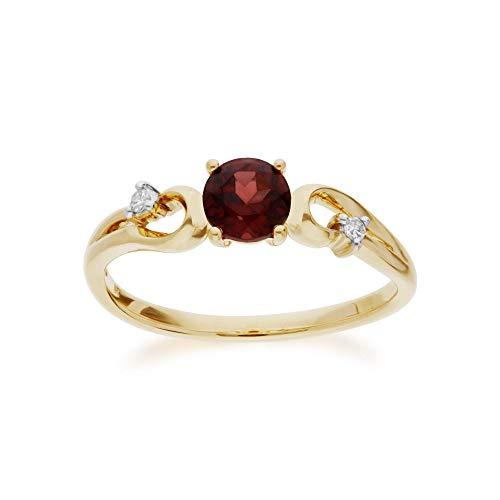 Gemondo anello di granato, in oro giallo 9K con granato e diamante classico Dress anello solitario e Oro giallo, 56 (17.8), colore: Garnet, cod. 135R1742029__O