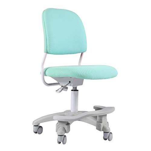 Ergonomic Kids Desk Chair, Child's Children Student Study Office Computer Chair, Adjustable Height and Seat Depth, W/Slipcovers, Detachable Footrest and Lumbar Support (Green, W/Chair Slipcovers)