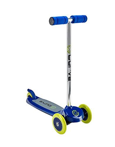 Curve ACTSCOT-487CV-BLU - Patinete de 3 ruedas con inclinación y giro, diseño fácil de plegar y transportar,...