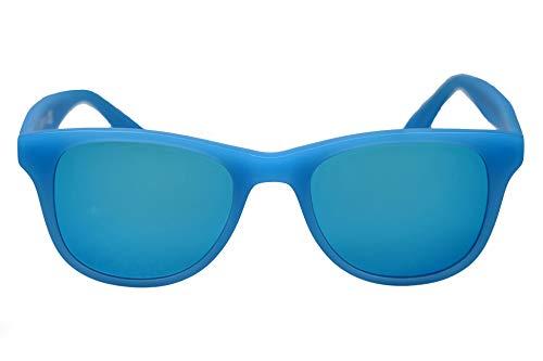 Gafas de sol con lentes de espejo azul mate y marco de aceta