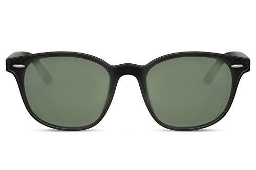 Cheapass Gafas de Sol Amplias Rectangulares Negro Mate Gafas con Cristales Verdes de Una Pieza UV400 Hombres Mujeres