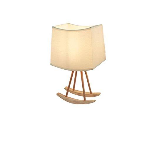 HTL Simple Lámpara de Lectura de Iluminación Decorativa Moderna Lámpara de Mesa de Estilo, Tela Ligera Cubierta, Soporte de Goma de Madera, Regulable Moda Luz de la Noche, Conveniente para el Dormito