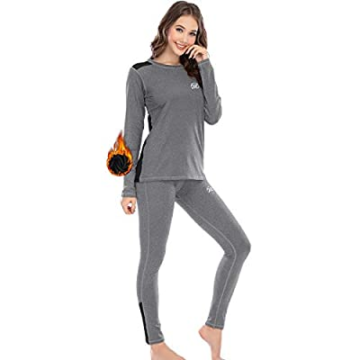 MEETWEE Thermal Underwear for Women, Winter Base Layer Top & Bottom Set Long Johns with Fleece Lined Grey