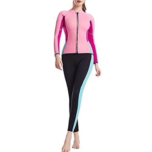 Trajes de Neopreno de 2,5mm Cremallera Frontal para Mujer Trajes de Buceo con Pantalones Nadar Mantenerse Abrigado para Deportes Acuáticos (Color : Pink, Size : M)