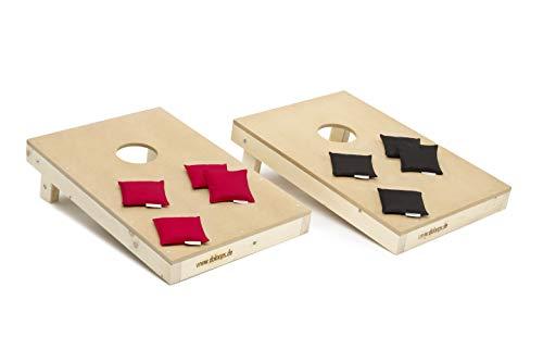 doloops Cornhole Turnierset mit 2 Cornhole Boards und 8 Cornhole Bags - original Deutscher Cornhole Verband Turnierausrüstung (rot-schwarz)