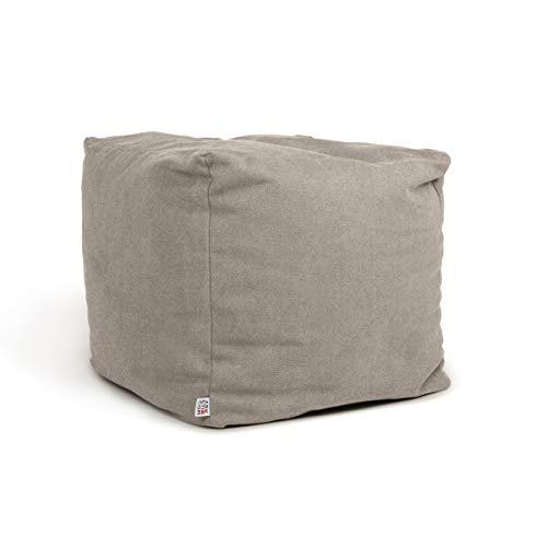 Arketicom Soft Cube - Puff de salón con reposapiés, suave, cuadrado, extraíble, 42 x 42 cm, gris y beige