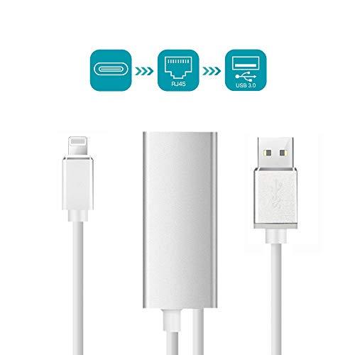 ShingYoDao RJ45 Gigabit Ethernet LAN Kabel Netzwerkadapter für Phone/iPad,Superschnelles Speed Ethernet-Adapter Kompatibel mit 10/100 / 1000 Mbps Unterstützung iOS