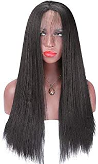 Women's Synthetic Lace Front Wig Medium Long Straight Yaki Black Natural Hairline African American Wig Natural Wigs Costume Wig