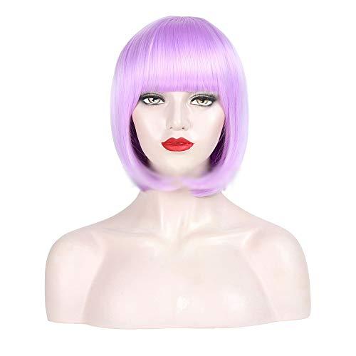 Souple Styling Synthétique Bob Perruque Pour Femmes Courte Droite Violet Clair Pourpre fashion (Couleur : Light purple)