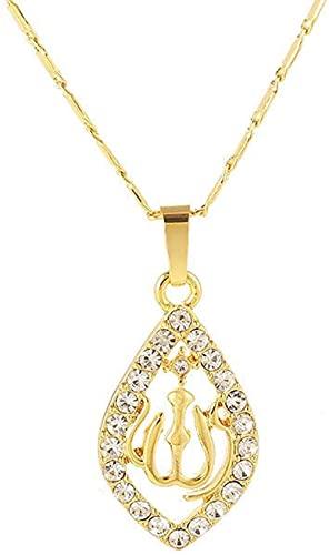 Aluyouqi Co.,ltd Musulmán islámico Alá Alá Encanto Colgante Collar de Diamantes de imitación en Forma de corazón Collar de Cadena de Oro Oriente Medio tótem religioso joyería