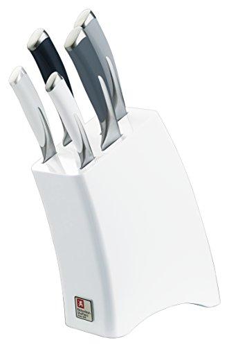 """Richardson Sheffield R140MZK369K28 """"Kyu"""" Mono Kitchen Knife Block Set, White, Set of 5"""