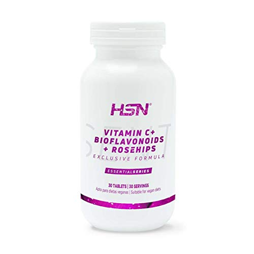 Vitamina C 1000mg de HSN | Suministro 1 Mes | Con Bioflavonoides Cítricos + Rosa Mosqueta | Antioxidante, Producción de Colágeno, Absorción Hierro | Vegano, Sin Gluten, Sin Lactosa, 30 tabletas
