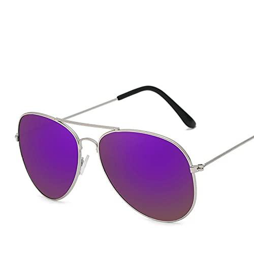 Astemdhj Gafas de Sol Sunglasses Gafas De Sol De Conducción Clásicas para Mujer Gafas De Metal para Hombre Compras Street Beat Mirror Classic Uv400 SilverpurpleAnti-UV