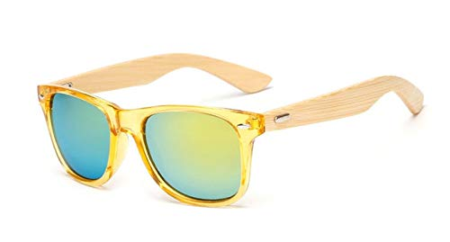 Berrd Gafas de Sol de Madera Gafas de Sol cuadradas de Mujer Slub para Mujer Gafas de Sol de Espejo Retro Hechas a Mano para Mujer