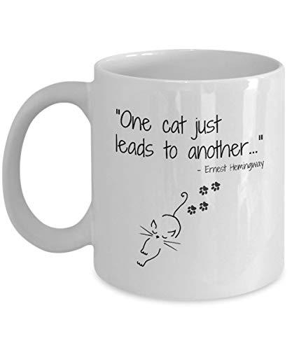 Taza divertida del gato, Cita de ernest hemingway, Regalo para la gente del gato, Taza de café de la señora del gato