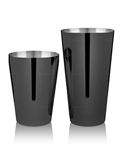 Lumian Luxury Bar Tools L0184 Yokai Boston Shaker Tin & Half Tin Professionale, Acciaio Inox, Placcato Nero, 18-28 oz