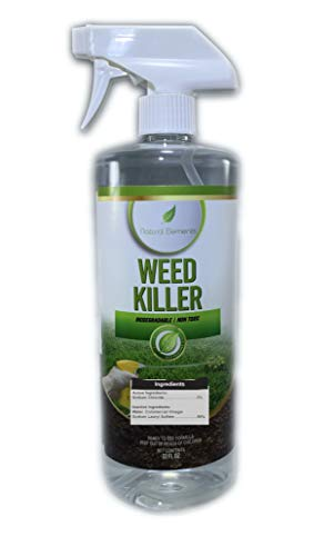 Natural Elements Weed Killer | Glyphosate Free | Safe Around Children, Pet Safe | Natural Herbicide | Fast Acting (1 Quart)