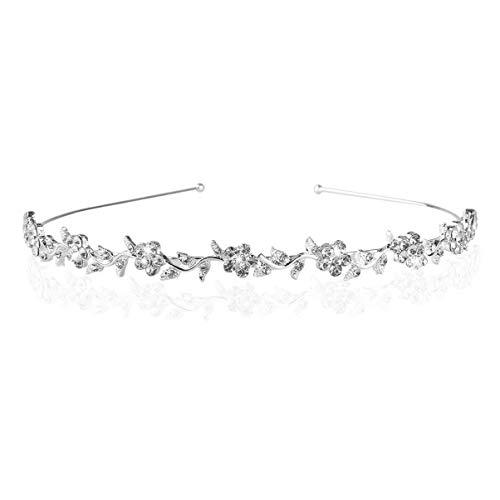 FAVOMOTO Diadema de Ptalos de Novia- Tiara de Cristal de Hoja Tocado de Novia Joyera para El Cabello Accesorios de Disfraz para Mujer