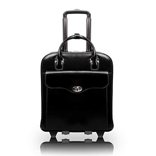 McKlein MELROSE, Top Grain Cowhide Leather 15'  Vertical Wheeled Ladies' Laptop Briefcase,Black, (97035)