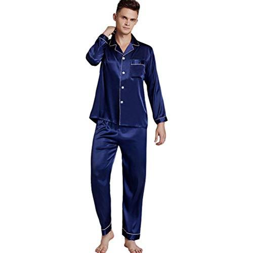 LLSS Conjunto de Pijamas para Hombre Camisas de Dormir Pijamas de Verano Traje Suelto de Manga Larga Sección Delgada Seda de imitación Ropa de hogar Talla Grande Se Puede