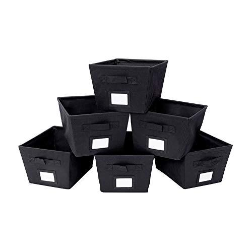 MustQ - Cubos de Almacenamiento con Asas Dobles, Flexibles, Color Negro, Juego de 6 Unidades (Negro)