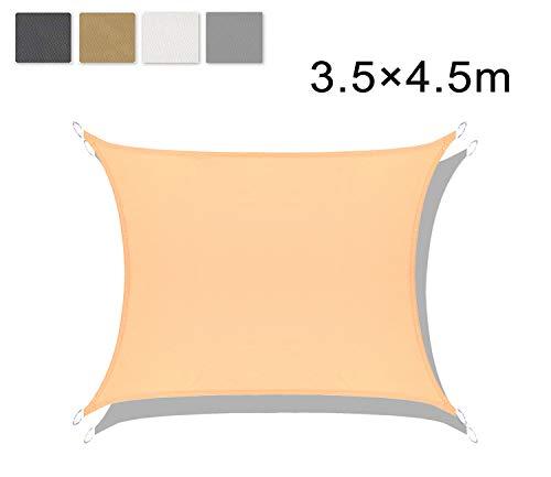 LOVE STORY Tenda da Vela Parasole Impermeabile(PES) Rettangolare 3.5×4.5m Sabbia Protezione UV per Terrazza Campeggio Giardino Esterno