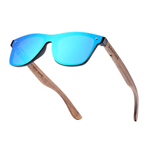 BARCUR Vintage Mens Womens Wooden Sunglasses Polarized Walnut Zebra Rimless Square Luxury Sun Glasses(Blue Walnut Temples)