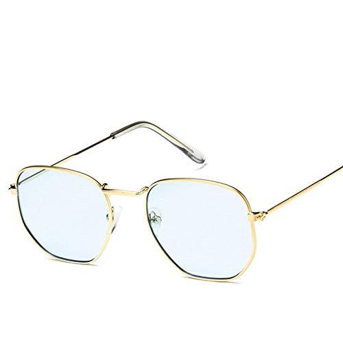 Astemdhj Gafas de Sol Sunglasses Gafas De Sol De Metal Vintage para Mujer, Gafas De Diseñador De Marca, Gafas De Lujo para Mujer/Hombre, Pequeño GoldoceanblueAnti-UV