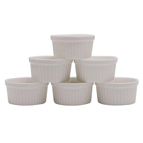 dedepeng Backform Weißes Porzellan Souffle Ramekins Desserts Custard Cups Backen-Werkzeuge 4 Unzen New 6Pcs