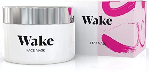 Wake Skincare - Maschera viso -maschera detox in argilla rosa, trattamento anti-acne, rimuove i punti neri e riduce i pori, luminosità naturale