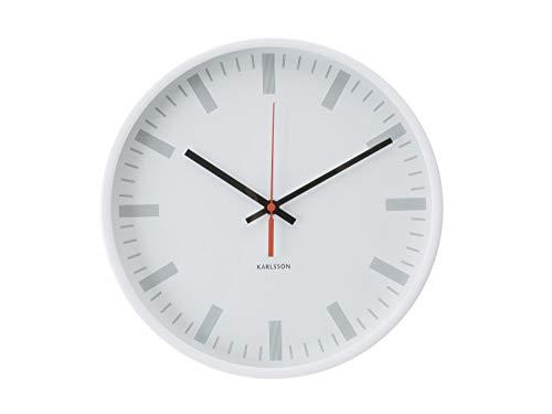 Trendfinding design wandklok Karlsson klok kwartsklok glazen front klassieker scanline station wit