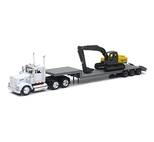 New-Ray 1:43 scale Kenworth W900 Lowboy Trailer with Construction Excavator