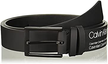 Calvin Klein Boys' Big Industrial Logo Print Belt, black, L