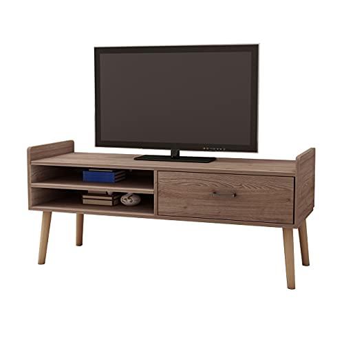 DlandHome Mueble de TV con Almacenamiento Banco de TV con Cajón para Sala de Estar 118cm x 40cm x 59CM Gabinete de Unidad de TV/Consola de TV/Gabinete de Dormitorio,Rovere Grigio