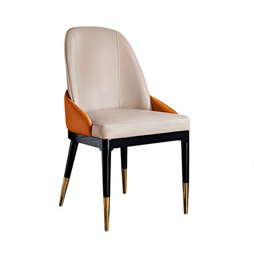 Yuansr Modern minimalist wood Frame Faux Leather dining chair Cafe Chair Living Room Armchair For Dining,Kitchen, Bedroom And drawing room (Color : White)