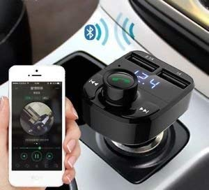 modern in x8 dual usb car charger hands-free wireless bluetooth fm transmitter & music adapter, 2.0a & 1.0a dual usb port lcd mp3 player which supports tf card and u disk- Black