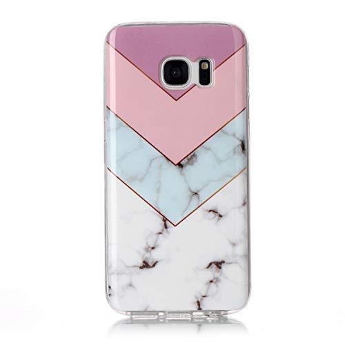 Homikon Silikon Hülle Marmor Muster TPU Handyhülle Ultra Dünn Weiche Schutzhülle mit Ring Ständer Stoßdämpfend Rückseite Flexibel Tasche Case Kompatibel mit Samsung Galaxy S7 - Farbe spleißen